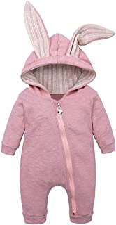 Mayunn Infant Baby Boys Girls Cotton Solid Zipper Hooded Rabbit Ear Jumpsuit Romper Clothes Outfits Sets (0Month-18Months)