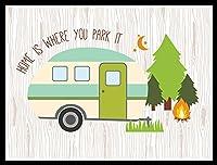 ウェルカムマット - 屋内/屋外ドアマット - Home is Where You Park It - 24 x 18インチ フロントドアマット