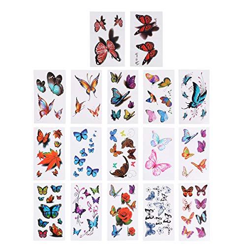 LURROSE 16 STÜCKE Blume Schmetterling 3D Aufkleber wasserdicht Tattoo Set Kinder Bunte Tattoo Aufkleber körper Aufkleber