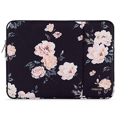 MOSISO Laptop Sleeve Case Compatible with 13-13.3 inch MacBook Pro, MacBook Air, Notebook Computer, Polyester Vertical Camellia Bag with Pocket
