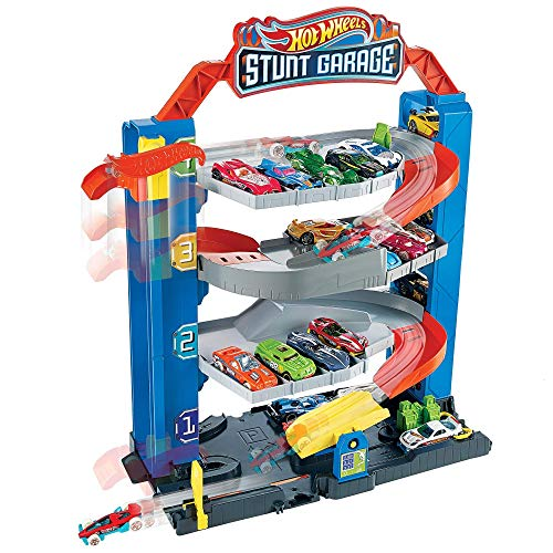 Hot Wheels GNL70 - Hot Wheels City Stunt Garage Spielset, Aufzug zum Befördern von Fahrzeugen, farbenfrohes Set, Geschenk für Kinder von 3 bis 8 Jahren