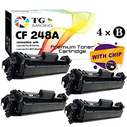 (4-Pack, Black) TG Imaging Compatible 248A CF248A 48A Toner Cartridge Used for HP Laserjet Pro MFP M28w M29w M28a M29a M15w M16a M15a M16w Printer