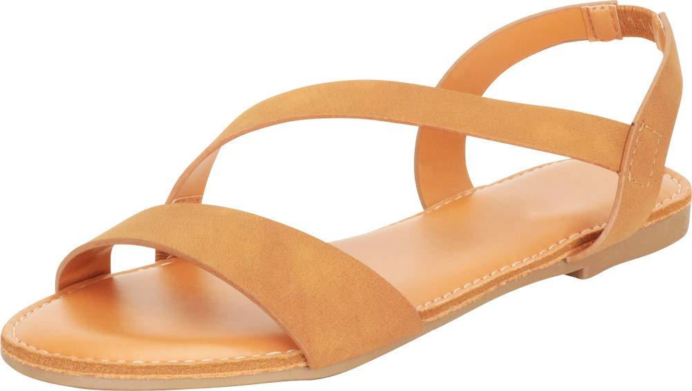 Cambridge Select 女式露趾系带露跟平底凉鞋
