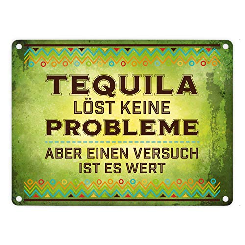 CUCIN metalen bord met spreuk: Tequila lost geen problemen - maar een poging is het waard 18 x 25 cm