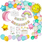 KSHYE 53 unids/Set Sky Theme cumpleaños Fiesta Decoraciones niño Pastel Globo Guirnalda Arco Kit Sol Nube Estrella Luna cumpleaños decoración de cumpleaños niña