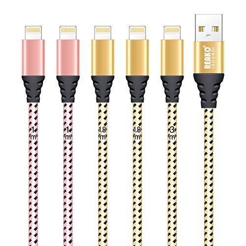 REAKOSOUND Cavo iPhone [5 Pezzi,2 * 1M,2 * 1.8M,1 * 3M] Nylon Carica Rapida iPhone Caricabatterie Cavo Compatibile per iPhone 12Pro/12/11 Pro/X/XS/7/6s/5s/5/SE(Oro Rosa+Oro)