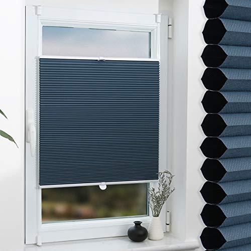 Grandekor Wabenplissee Klemmfix Verdunkelung Thermo Zweifarbig 110x130cm (BxH) Weiß-Blau/Doppelplissee ohne Bohren für Fenster & Tür, Sonnen-, Sicht- & Schallschutz Wärmeisolierung, Kein Geruch