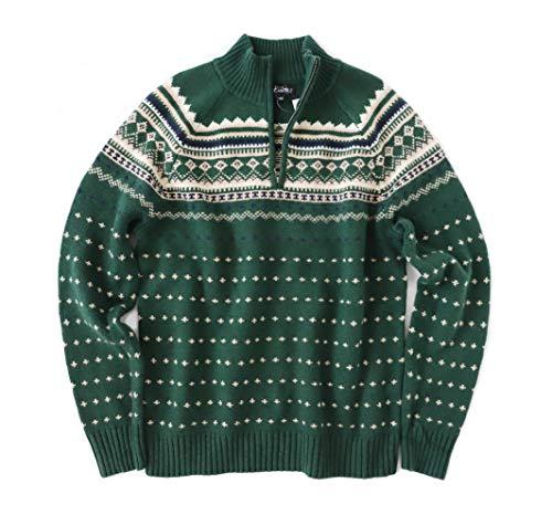 J.Crew Mercantile Men's Fair Isles 1/4 Zip Pullover Sweater (Medium, Spruce Green/Multi)