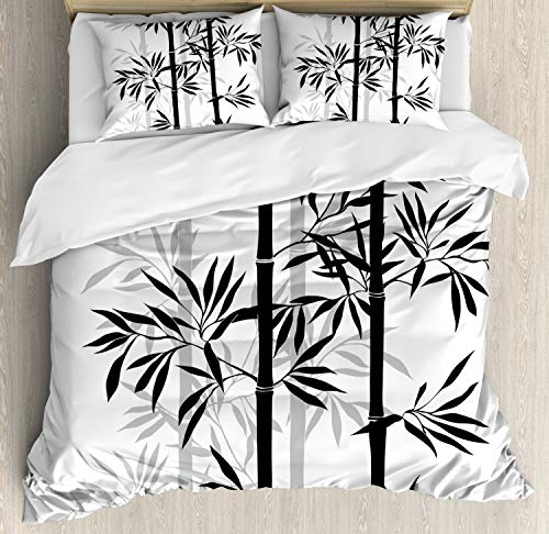 Ambesonne Tree of Life Duvet Cover Set, Silhouette of Bamboo Tree Leaves Japanese Feng Shui Boho Image, Decorative 3 Piece Bedding Set with 2 Pillow Shams, King Size, White Black