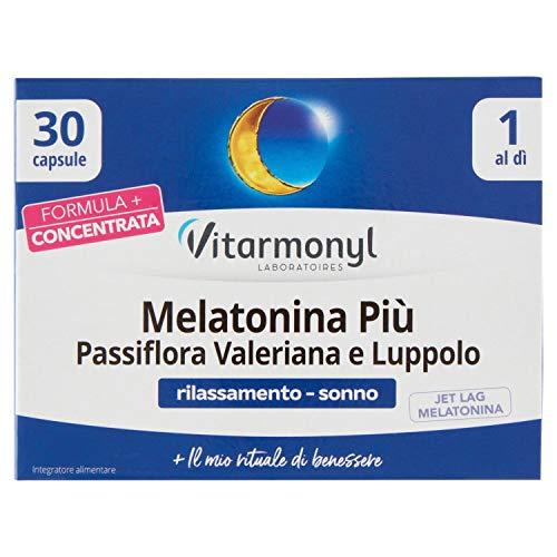 Vitarmonyl MELATONINA PIU PASSIFLORA VALERIANA E LUPPOLO • Integratore 30 capsule • Sonno e Jet Leg • Registrato Ministero Salute Italiano