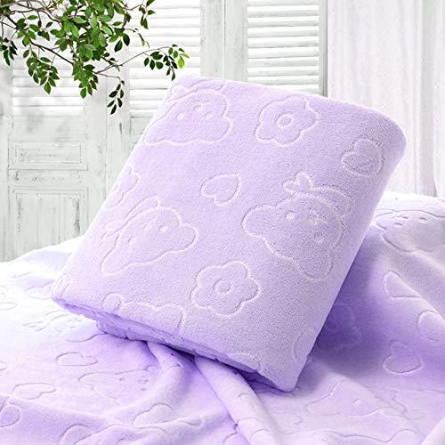 Xiaobing 70X140CM Microfiber Quick Drying Towel Cartoon Bath Towel Cotton Towel -Purple-70x140cm