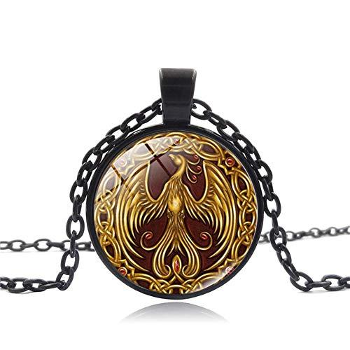 N-K PULABO Phoenix patrón colgante cabujón joyería vintage collar cadena de cristal regalo para mujer - oro creativo y exquisito trabajo delicado