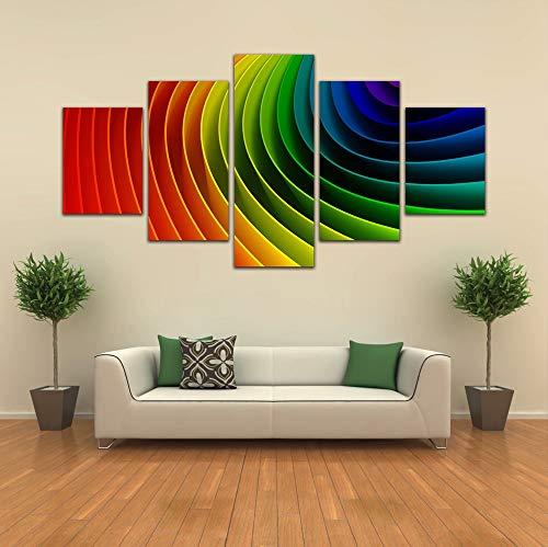 HIMFL 5 Paneles Lona HD Print Arco Iris Imagen Resumen Pinturas Decoración del hogar Póster para Sala de Estar