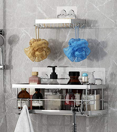 Product Image of the Shower Caddy and Soap Dish with Hooks Shower Shelf Bathroom Organizer, No Drilling Adhesive Wall Mounted Bathroom Shelf, Rustproof SUS304 Stainless Steel ( 2 Pack )