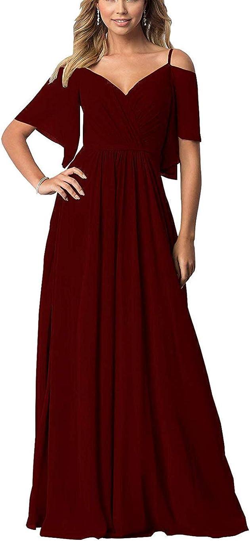 YUSHENGSM Women V Neck Bridesmaid Dresses Long Prom Dress A Line Formal Evening Ball Gown