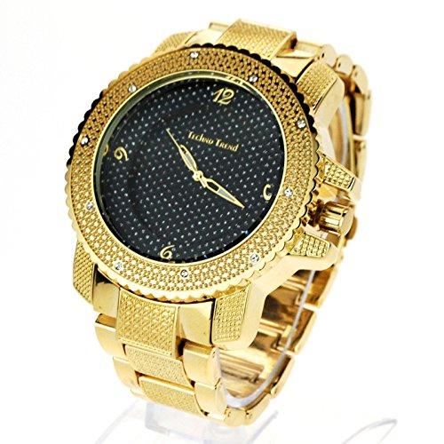 Techno uomo hip hop Iced out Baller lusso diamante lunetta analogico orologio da polso oro