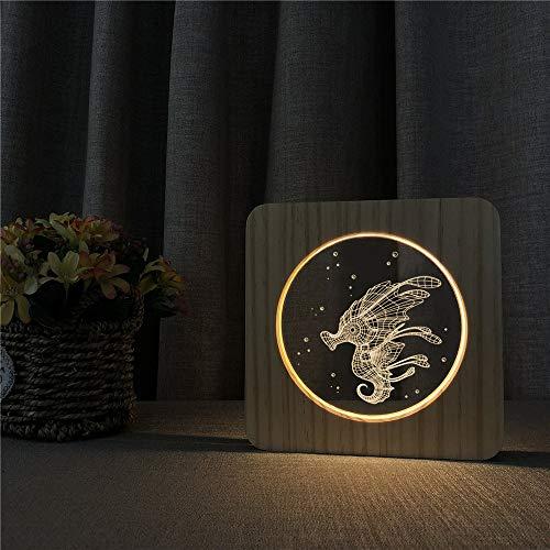 Caballito de mar Animal Madera Acrílico Amigos Ventilador 3D LED Luz de noche Lámpara de mesa Mesita de noche Decoración Regalo de niños