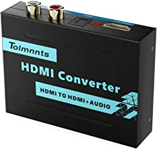 Tolmnnts HDMI Audio Extractor, HDMI to HDMI + Optical Toslink SPDIF + RCA(L/R) Stereo Analog Outputs,Support Full HD,4K@30Hz,1080P,3D,Compatible with Xbox PS3 PS4 Fire Stick Roku Blu-Ray Player HDTV