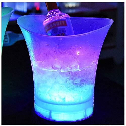FMLSDMBT Ovale Getränkewanne, LED-Eiskübel, Weinkühler,Party-Wanne, Beleuchtet Kühleren Eimer, Bunte Ändernde Runde Bier-Champagne-Wein-Getränke Für KTV-Party-Stab-Ausgangshochzeits-Aufladung