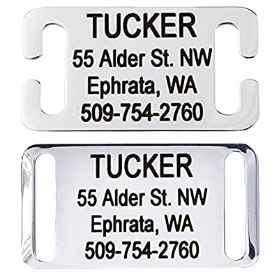 GoTags Slide-On Pet ID Tags. Personalized Dog & Cat Tags. Silent, No Noise Collar Tags made of Stainless Steel. Custom Engraved.
