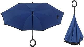 "SimplyRain Reverse Umbrella (Blue). 45"" Wide. Sturdy, Inverted, Self Standing Umbrella"