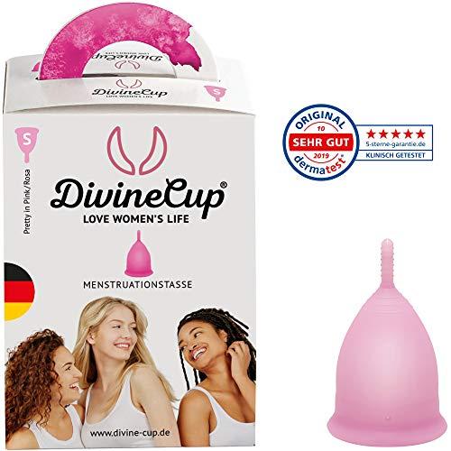 DIVINE CUP Menstruationstasse - Pretty in Pink/Rosa - Made in Germany - geruchlos - medizinisches Silikon - Alternative zu Tampons und Binden (S - Klein)