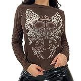 Y2K - Camiseta de manga larga para mujer, cuello en V, estampado de flores, estilo vintage de los años 90, marrón, S