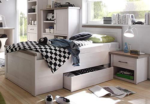 Stella Trading LUCA Stilvolles Einzelbett 90 x 200 cm mit Bettkasten - Komfortables Landhausstil Jugendzimmer Bett in Pinie weiß / trüffel - 96 x 90 x 205 cm (B/H/T)