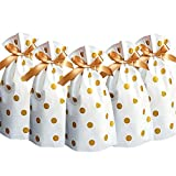 24pcs Treat Bags Party Favor Bags Gold Plastic Drawstring Gift Bags Candy Goodies Bags Food Storage...