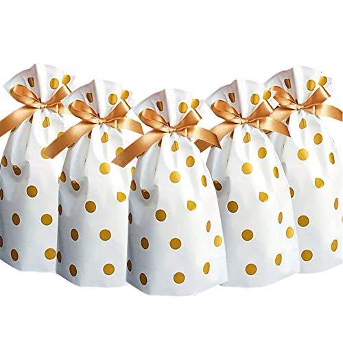 24 Stück Süßigkeitentüten Partytüten Gold Kunststoff Kordelzug Geschenktüten Süßigkeiten Goodies Taschen Lebensmittelaufbewahrung Beutel Geschenkverpackung.