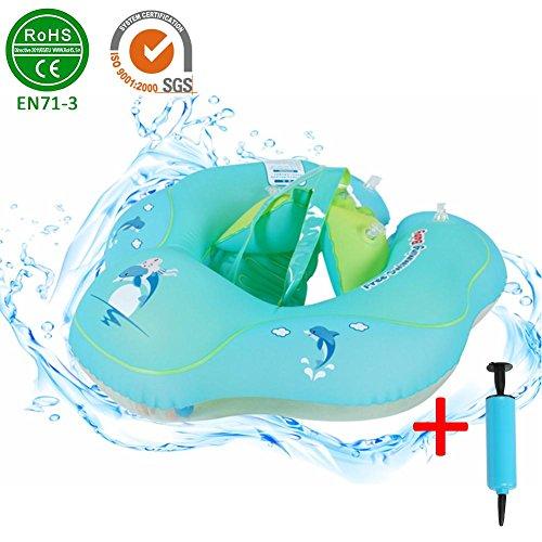lingzhuo-shop Babyzwemronden, peddel voor pasgeborenen, kleine kinderen onder het zwembad, met pomp, geschikt voor peuters ouder dan 3 maanden