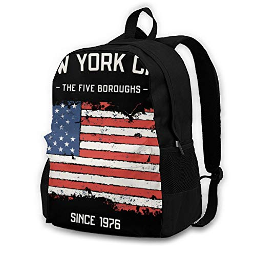 16.5 Lightweight Durable School Bags Bookbag Backpacks For Kids Teen,Nyc Five Boroughs Apparel With Grunge Eff College School Book Shoulder Bag Travel Daypack For Boys Girls Man Woman