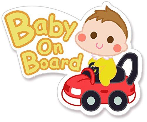 ベビーインカー マグネット【後続車からよく見えるかわいいデザイン】Baby in car 赤ちゃん乗ってます Baby On Board ステッカー サイン (マグネット)