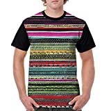 Men Classic Polyester Short Sleeve T-Shirts Front Print Tee Hand Drawn Stripe