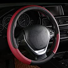 CAADDGY PU Leather Car Steering Wheel Cover Two-Tone Sport Steering-Wheel Covers Anti Slip Universal Size M 38CM Auto Accessories brown