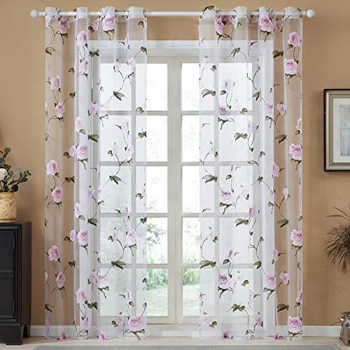 Topfinel Voile Ösenvorhänge mit Ausbrenner Blumen Mustern Dekoschal für Wohnzimmer und Outdoor 2er Set je 245x140cm (HxB) Lila