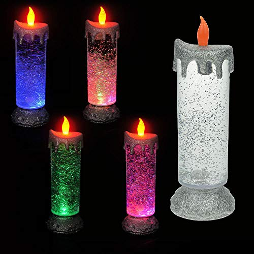 LED Kerze Farbwechsel Glitter Weihnachten Glitzer Fenster Weihnachtsdeko 24cm Glänzende LED-Glitzerkerze Motorisierter Glitzerschneesturm