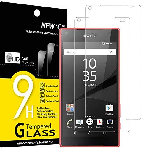 NEW'C 2 Unidades, Protector de Pantalla para Sony Xperia Z5 Mini, Antiarañazos, Antihuellas, Sin Burbujas, Dureza 9H, 0.33 mm Ultra Transparente, Vidrio Templado Ultra Resistente
