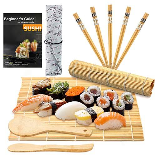 DYFFLE Sushi Set, 10 Teile - Sushi Maker Set für Anfänger, Sushi Selbst Machen Set Sushi Rollmatte (2 Sushi Matte + 1 Reisstreuer + 1 Paddy Paddel + 5 Stäbchen + 1 Anweisungen) Bambus Sushi Kit