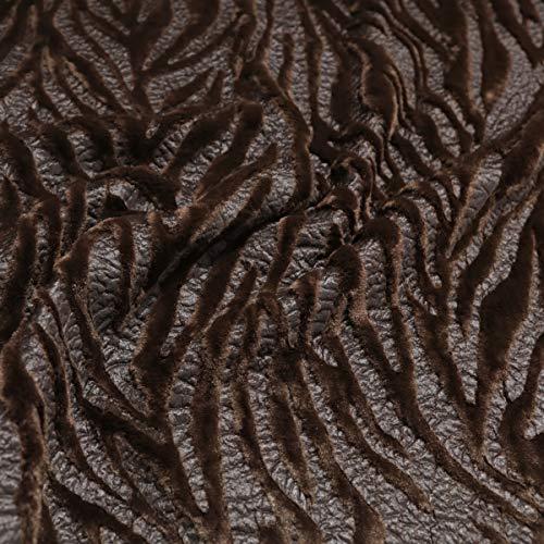 TOLKO 50cm Kunstfell | weicher Baumwollstoff mit 4mm Florhöhe | Kurzhaar Webpelz zum Nähen Dekorieren Basteln | 140cm breit Teddy Plüschstoff Pelzimitat Kunstfellstoff Meterware (Zebra Braun)