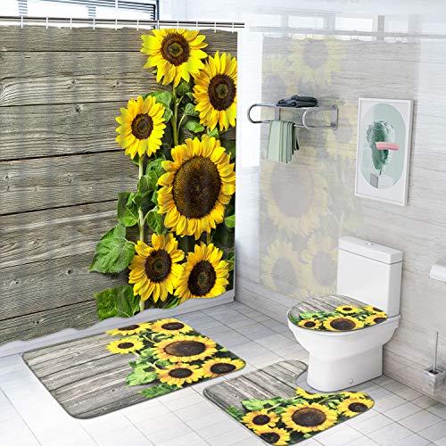 Pknoclan Duschvorhang-Sets mit Sonnenblumen-Motiv, rutschfeste Teppiche, rustikaler Holzbohlen-Duschvorhang mit 12 Haken, wasserdichter Duschvorhang mit Blumenmuster für Badezimmer