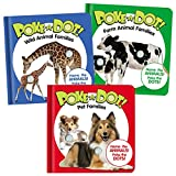 Set of Three Mini Poke-A-Dot(R) Books Pet Families, Wild Animal Families, & Farm Animal Families Poke'em to Hear Pop Noise on Each Animal Learn Animal and Baby Names 12 Months and Up