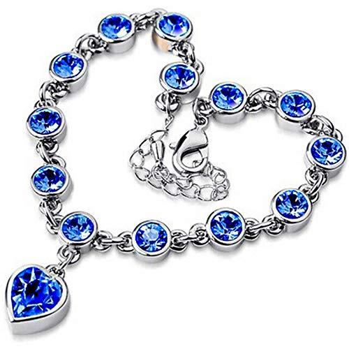 CLEARNICE Pulsera de Cristal Azul de Moda para Mujer, Pulsera con Dije de corazón de Amor para Mujer, Pulseras de Cadena de eslabones de Amistad, brazaletes, joyería de Moda, Longitud 18 cm