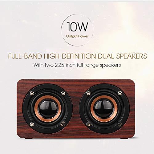 N/A Bluetooth-luidspreker van hout, HiFi, draadloos, dubbele luidspreker, ondersteunt geïntegreerde microfoon TF-kaart, AUX, handsfree