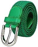 Falari Men Women Canvas Elastic Fabric Woven Stretch Braided Belt - 1003 - Kelly Green-Large