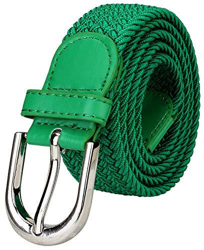 Falari Men Women Multicolored Elastic Stretch Braided Belt Canvas Fabric Woven No Holes Belt (1003 - Kelly Green, Medium)