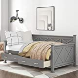 Twin Size Daybed with Drawers, Wood Twin Bed Frame with Storage Drawers, No Box Spring Needed (Grey (with Drawers))