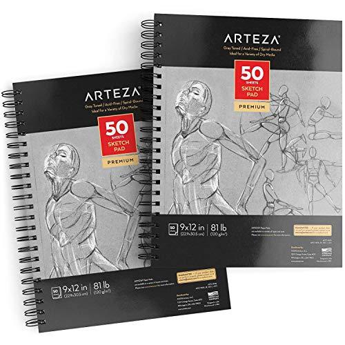 Arteza Skizzenblock, 22.9 cm x 30.5 cm, Zeichenblock 2er-Set mit jeweils 50 Blättern, 120 g/m² schweres Papier, Malblock mit Spiralbindung, graues Zeichenpapier, für viele trockene Medien