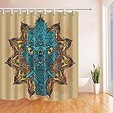 mintlmk Mandala Tier Duschvorhänge Abstrakt Türkis Elefant Polyester Stoff Badvorhänge für Badezimmer Duschvorhang Haken enthalten 71X71in