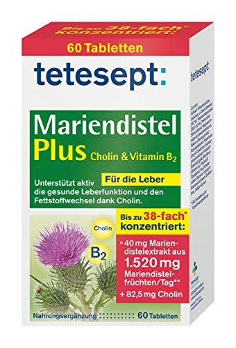 tetesept Mariendistel Plus Cholin & Vitamin B2 – Nahrungsergänzungsmittel zur aktiven Unterstützung einer gesunden Leberfunktion und des Fettstoffwechsels dank Cholin– 1 x 60 Tabletten